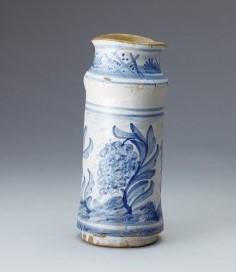 藍絵草花文筒瓶