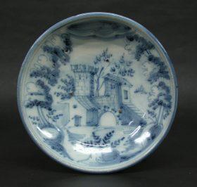 藍絵城館文皿